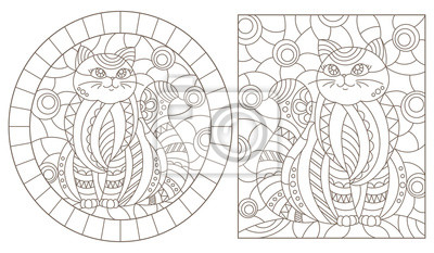 Obraz Set of contour illustrations of stained glass Windows with cute cartoon cats , dark contours on a white background