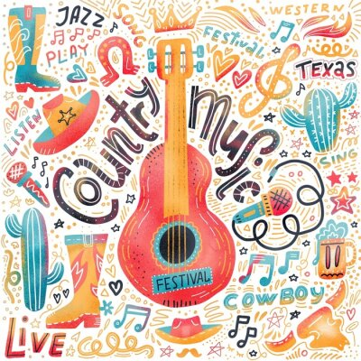 Obraz Set of Country music elements for postcards or festival banners.  hand drawn illustration in flat doodle style. Guitar with written lettering.