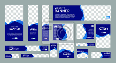 Obraz set of creative web banners of standard size with a place for photos.  Business ad banner. Vertical, horizontal and square template. vector illustration EPS 10