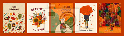 Obraz Set of cute autumn illustrations. Vector templates for card, poster, flyer, cover and other use.