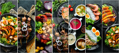 Obraz Set of dishes. Seafood, meat and vegetables. Photo collage. Banner.
