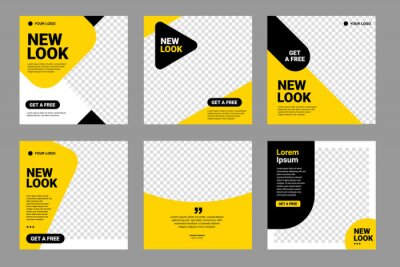 Obraz Set of Editable minimal square banner template. Black and yellow background color with stripe line shape. Suitable for social media post and web internet ads. Vector illustration with photo college