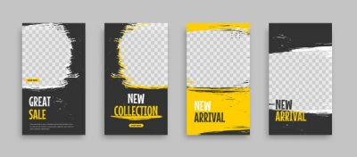 Obraz Set of Editable minimal square banner template. Blue yellow white background color with geometric shapes for social media post, story and web internet ads. Vector illustration