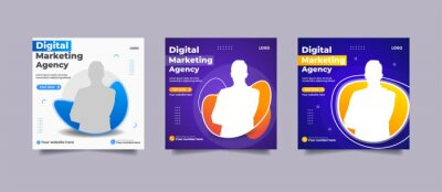 Obraz Set Of Editable Post Template Social Media Banner for Digital business marketing agency Creative Modern Advertising square flyer