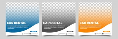 Obraz Set of editable square banner template. Car rental banner with black, orange and blue color background. Flat design vector with photo collage. Usable for social media, story and web internet ads.