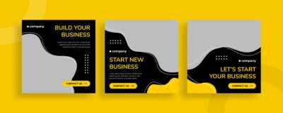 Obraz Set of editable templates for Instagram post, Facebook square, corporate, advertisement, and business, fresh design with simple black yellow color (1/3)