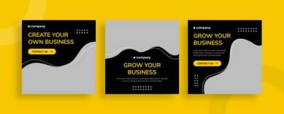 Obraz Set of editable templates for Instagram post, Facebook square, corporate, advertisement, and business, fresh design with simple black yellow color (2/3)