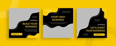 Obraz Set of editable templates for Instagram post, Facebook square, corporate, advertisement, and business, fresh design with simple black yellow color (3/3)