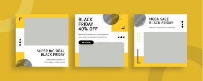Obraz Set of editable templates for Instagram post, Facebook square frame, social media, advertisement, and business promotion, fresh design with yellow color and minimalist vector. (3/3)