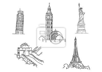 Obraz Set of famous world landmarks