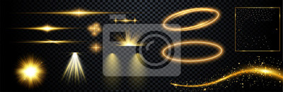 Obraz  Set of flashes, lights and sparks. Abstract golden lights isolated on a transparent background. Bright gold flashes and glares. Bright rays of light. Glowing lines. Vector illustration.