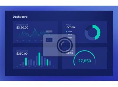 Set of flat design UI elements for website and mobile applications. Dark blue color