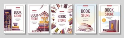 Obraz Set of flyers for bookstore, bookshop, library, book lover, e-book, education. A4 vector illustration for poster, banner, advertising, cover.