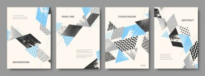 Obraz Set of Geometric Backgrounds. Collage Style Cover Design Templates. Vector Illustration.