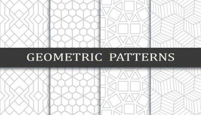 Obraz Set of geometric seamless patterns. Abstract geometric graphic design print pattern. Seamless geometric gray lines pattern.