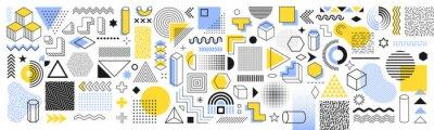 Obraz Set of geometric shapes. Memphis design retro elements. Collection trendy halftone geometric shapes. Retro funky graphic, 90s trends designs and vintage print element collection – vector