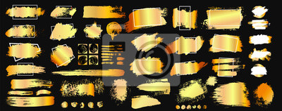 Obraz Set of golden grunge hand drawn rough box torn shapes. Edge foil frames. Distressed brush strokes, blots, borders and gold dividers. Vector illustration. Isolated on black background.