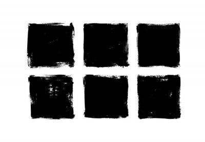 Obraz Set of grunge square template backgrounds. Vector black painted squares or rectangular shapes. Hand drawn brush strokes isolated on white. Dirty grunge design frames, borders or templates for text.