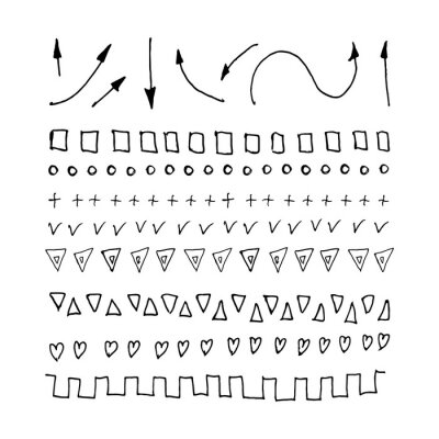 Set of hand drawn lines, dividers, abstract scribble, shape and strokes. Vector doodle design elements isolated on white background.