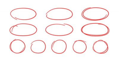 Obraz Set of hand drawn red circles and ovals. Highlight circle frames. Ellipses in doodle style. Vector illustration isolated on white background.