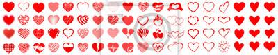 Obraz Set of hearts icon, heart drawn hand - stock vector