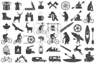 Obraz Set of Hiking and Camping icons isolated on the white. Vector. Set include fishing bear, mountains, knife, tent, cup, coffee, goat, gas stove, water sports equipment, forest silhouette
