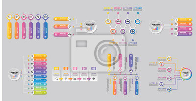 Set Of Infographics Elements Vector Design Template. Business Data Visualization Infographics Timeline with Marketing Icons most useful can be used for info graph, presentations, process, diagrams, an