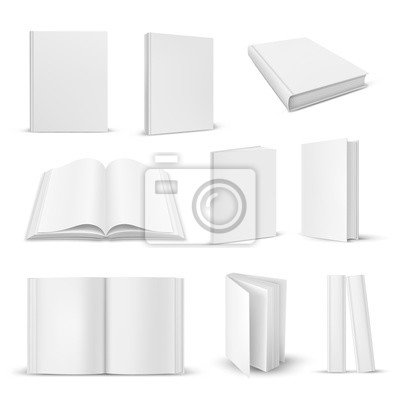 Obraz Set of isolated opened and closed realistic book