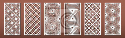 Obraz Set of laser cut templates with geometric pattern.  For metal cutting, wood carving, panel decor, paper art, stencil or die for fretwork, card background design. Vctor illustration