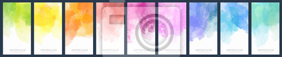 Obraz Set of light colorful vector watercolor vertical backgrounds for poster, banner or flyer