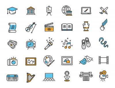 Obraz Set of linear culture icons. Art icons in simple design. Vector illustration
