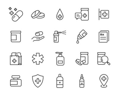 Obraz set of medicine icons, pills, capsule, drug store, pharmacy