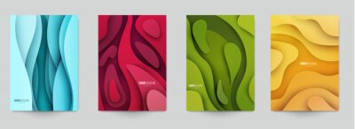 Obraz Set of minimal template in paper cut style design for branding, advertising with abstract shapes. Modern background for covers, invitations, posters, banners, flyers, placards. Vector illustration.