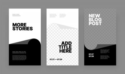 Obraz Set of minimalistic stories for social media. Pack for creating your unique content. Story mockup.