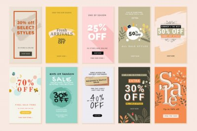 Obraz Set of mobile sale banners. Vector illustrations for website and mobile banners, print material, newsletter designs, coupons, marketing.