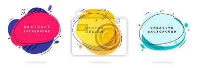 Obraz Set of modern abstract vector banners. Flat geometric shapes of different colors with black outline in memphis design style. Template ready for use in web or print design.