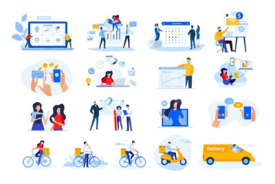 Obraz Set of modern flat design people icons. Vector illustration concepts of delivery, ebanking, communication, project development, business management, Internet marketing, seo, video calling.