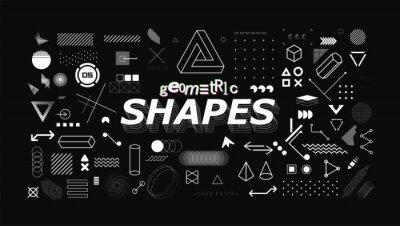 Obraz Set of neo memphis geometric shapes. Trendy graphics element for your design. Vaporwave style, universal geometric shapes and elements on dark background. Vector memphis elements set