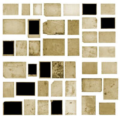 Obraz Set of old vintage dirty photo postcards on isolated background