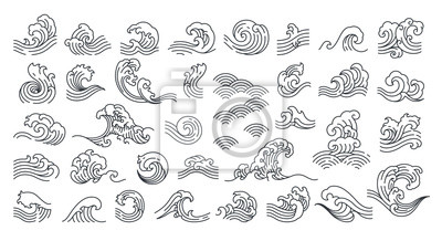 Obraz Set of oriental wave vector illustration. Japan wave. Linear style.