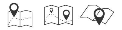 Obraz Set of outline map symbols. Vector location icon