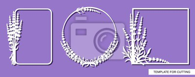 Obraz Set of photo frame with a lavender flowers pattern. White objects on a purple background. Template for laser cutting, wood carving, paper cut or printing. Plant theme. Vector illustration.