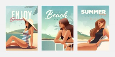 Obraz Set of posters with girl relaxing on the beach. Summer vacation posters or flyer design template with sexy females on the beach. Party invitation. Modern style. Vector illustration