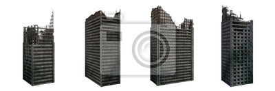 Obraz set of ruined skyscrapers, tall post apocalyptic buildings isolated on white background
