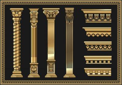 Obraz Set of silhouettes classic vintage golden capitals