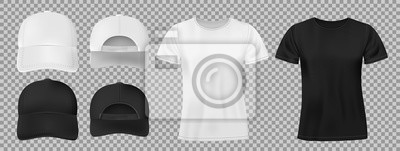 Obraz Set of sports wear template. Black and white baseball cap and t-shirt mockup, front and back view. vector illustration