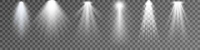 Obraz Set of Spotlight isolated on transparent background. Vector glowing light effect with white rays and beams. PNG. Vector illustration