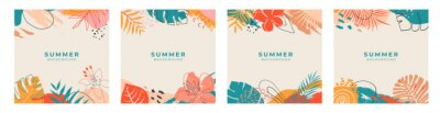 Obraz Set of summer social media post template with space for text.Promotional content.Colorful abstract vector design background for poster, invitation and cover with tropical leaves, shapes and textures