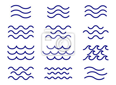 Obraz Set of thin line waves vector, collection