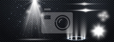 Obraz Set of Transparent Lens Flares and Lighting Effects. White spotlights.  Light Effects. Realistic falling snowflakes. Vector illustration